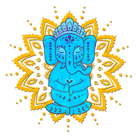 tantra: Card with elephant Ganesha Hindu god.  Illustration for prints dress, coloring book Animal made in vector. Happy Birthday Chaturthi