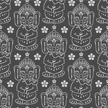 tantra: Pattern  with elephant Ganesha Hindu god. Illustration for prints dress, coloring book Animal made in vector. Happy Birthday Chaturthi