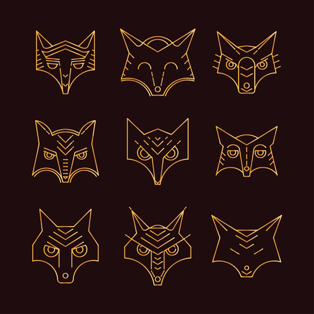 sneaky: Fox icon symbol. Set vector illustration. Fox head. Fox face, elements for design, print dress, a company , for websites, business card