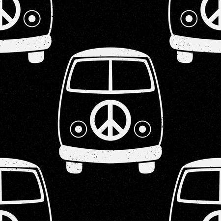 60s: Hippie vintage car a mini van. Ornamental background. Love and Music with  hand drawn doodle background and textures. Hippy color vector illustration. Retro 1960s, 60s, 70s
