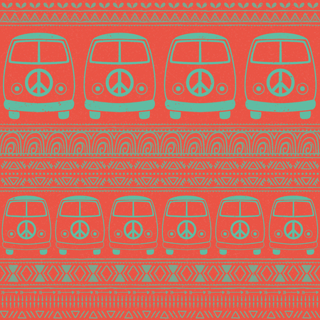 fonts music: Hippie vintage car a minivan sign popular for flower children Love and Music, woodstock with hand pattern fonts textile background and textures. Hippy color vector illustration. Retro 1960s, 70s style