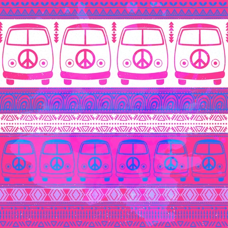 woodstock: Hippie vintage car a minivan sign popular for flower children Love and Music, woodstock with hand pattern fonts textile background and textures. Hippy color vector illustration. Retro 1960s, 70s style