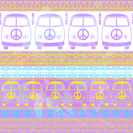 fonts music: Hippie vintage car a minivan. Ornamental background. Love and Music with hand pattern fonts, textile doodle background and textures. Hippy color vector illustration. Retro 1960s, 70s style