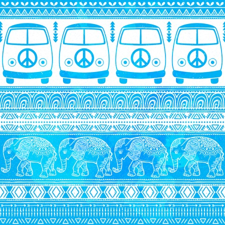 60s hippie: Hippie vintage car a minivan. Ornamental background. Love and Music, woodstock with hand pattern, textile doodle background and textures. and elephant african vector illustration. Retro 60s, 70s style