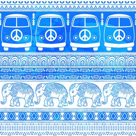 woodstock: Hippie vintage car a minivan and elephant african Love and Music, woodstock with hand pattern fonts textile background and textures. Hippy color vector illustration. Retro 1960s, 70s style