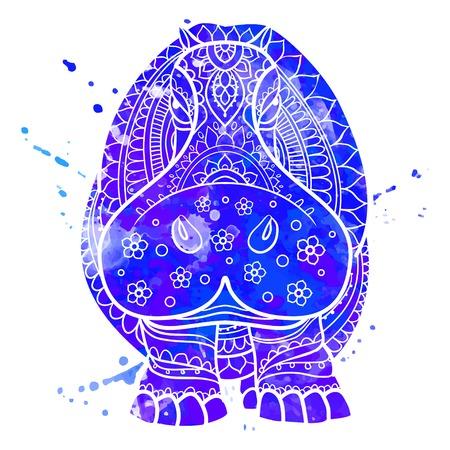 vector de hipopótamo ornamento. Hermosa ilustración de hipopótamo para el diseño, ropa de impresión, adhesivos, tatuajes, libros para colorear para adultos. Dibujado a mano ilustración de los animales. encajes hipopótamo acuarela ornamentales