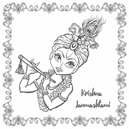 lord krishna: Ornament card with Lord Krishna birthday. Illustration in vector art. Happy Janmashtami Day Hindu.
