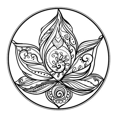 lilia: Ornamental Boho Style lotus Flower. Geometric element hand drawn. Perfect  cards for any other kind of design, birthday and other holiday, medallion, yoga, india, arabic, om