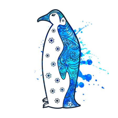 ice fishing: Ornament penguin vector. Beautiful illustration penguin for design, print clothing, stickers, tattoos, Adult Coloring book. Hand drawn animal illustration. Penguin lace ornamental