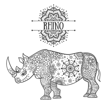 rhino vector: Ornament rhino vector. Beautiful illustration rhinocero for design, print clothing, stickers, tattoos, Adult Coloring book with rhino. Hand drawn animal illustration. Rhinocero lace ornamental