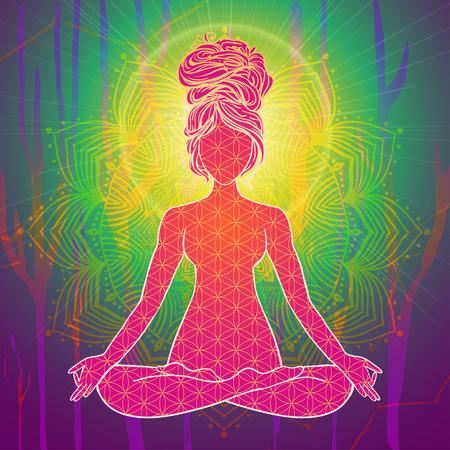 Yoga is a set of different spiritual, mental  physical practices beautiful card with Vector yoga Card for design textile textures Yoga is Raja Yoga Karma Yoga Jnana Yoga Bhakti Yoga Hatha Yoga Illustration