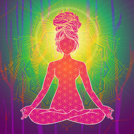 jnana: Yoga is a set of different spiritual, mental  physical practices beautiful card with Vector yoga Card for design textile textures Yoga is Raja Yoga Karma Yoga Jnana Yoga Bhakti Yoga Hatha Yoga Illustration