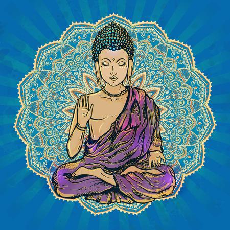 Drawing of a Buddha statue. Art illustration of Gautama Buddhism Religion.