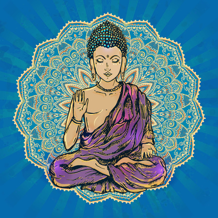 buddha lotus: Drawing of a Buddha statue. Art illustration of Gautama Buddhism Religion.