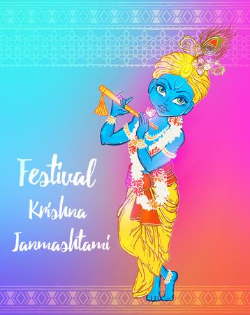 Ornament card with Lord Shri Krishna birthday. Illustration in art. Happy Janmashtami Day Hindu. Vedic Feast India. Use for banners, card, wallpaper, print. Cartoon little baby krishna image Illustration