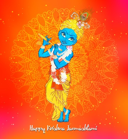 radha: Ornament card with Lord Shri Krishna birthday. Illustration in  art. Happy Janmashtami Day Hindu. Vedic Feast India. Use for banners, card, wallpaper, print. Cartoon little baby krishna image