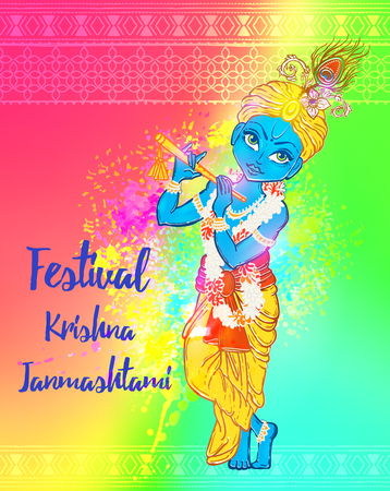 krishna: Ornament card with Lord Shri Krishna birthday. Illustration in art. Happy Janmashtami Day Hindu. Vedic Feast India. Use for banners, card, wallpaper, print. Cartoon little baby krishna image Illustration