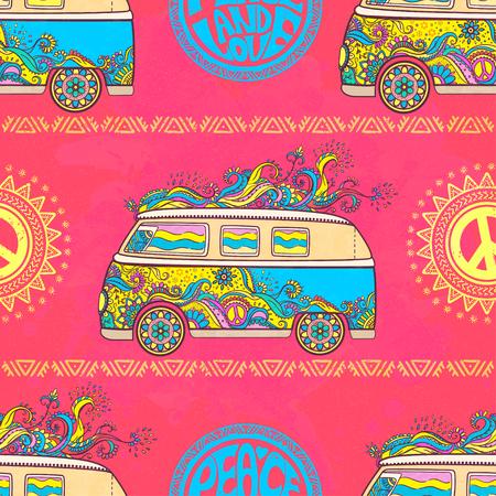 Hippie vintage car a mini van. Hippy color vector illustration. Retro 1960s, 60s, 70s Illustration