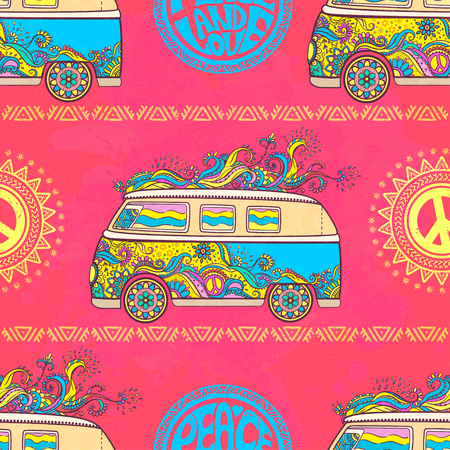 Hippie vintage car a mini van. Hippy color vector illustration. Retro 1960s, 60s, 70s 矢量图像