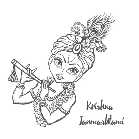 epic: Ornament card with Lord Shri Krishna birthday. Illustration in vector art. Happy Janmashtami Day Hindu. Illustration