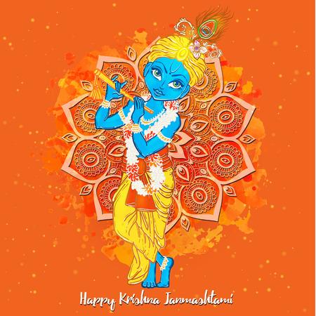 Ornament card with Lord Shri Krishna birthday. Illustration in vector art. Happy Janmashtami Day Hindu. Vedic Feast India. Use for banners, card, wallpaper, print. Cartoon little baby krishna image Illustration