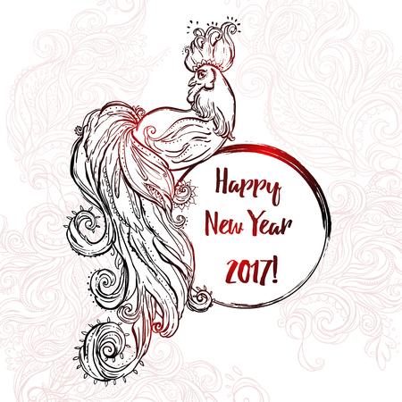 Signos Del Zodiaco Del Gallo. Chino Feliz Año Nuevo 2017 Hermosa ...
