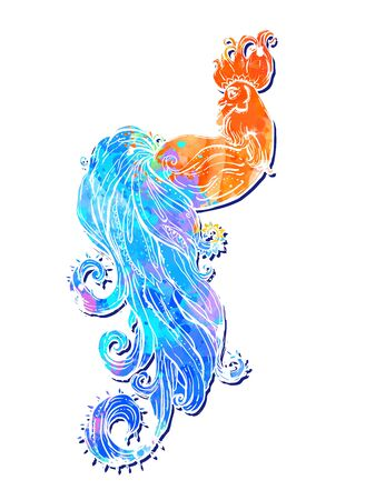 happy new years: Zodiac Signs of Rooster. Chinese New year 2017 beautiful illustration ornament feather. Coloring book for adults. Cock vector watercolor