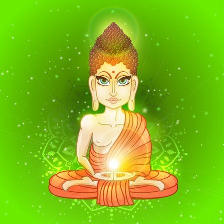 gautama buddha: Drawing of a Buddha statue. Art vector illustration of Gautama Buddhism Religion. Illustration