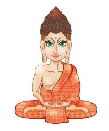 Ornament beautiful card with Buddha. Geometric element hand drawn. Medallion, yoga, india, arabic, lotus Illustration