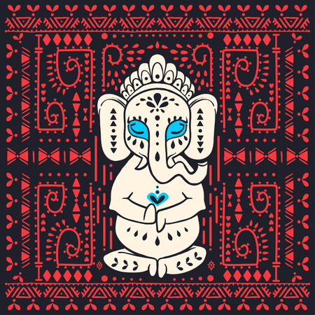 tantra: Card with elephant Ganesha Hindu god. Ornament background. Illustration for prints dress, coloring book. Animal vector pattern. Yoga studio and Happy Birthday Chaturthi