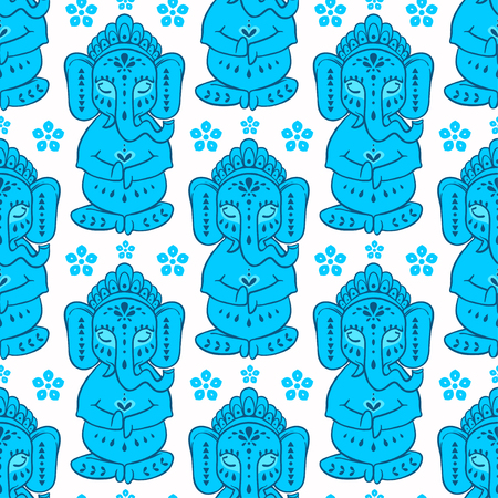Pattern with elephant Ganesha Hindu god.  Illustration for prints dress, coloring book Animal made in vector. Happy Birthday Chaturthi Illustration