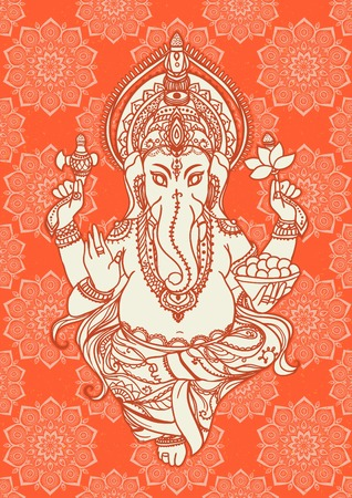devotion: Ornament beautiful card with lord Ganesha image. God with elephant head. Illustration of Happy Ganesh Chaturthi. Invitation, gretting, birthday, holiday card. India traditional festival shree Ganesha