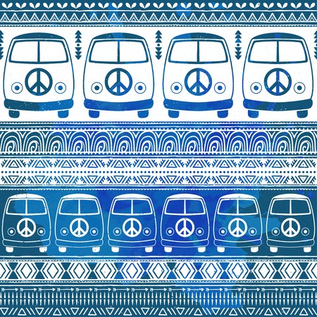 minivan: Hippie vintage car a minivan. Ornamental background. Love and Music, woodstock with hand pattern fonts, textile doodle background and textures. Hippy color vector illustration. Retro 1960s, 70s style Illustration