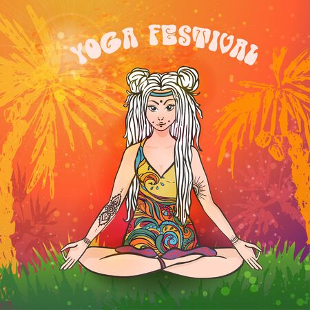 Hippie girl with dreadlocks. Hippie style Yoga poses Love and Music with hand written fonts, hand drawn hippie girl and textures. Hippy color vector illustration. Retro 1960s, 60s, 70s Illustration