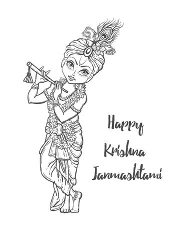 baby krishna ornament card with lord shri krishna birthday illustration in vector art
