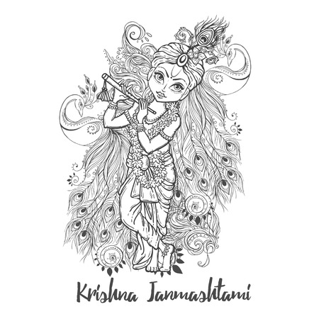 Ornament card with Lord Shri Krishna birthday. Illustration in vector art. Happy Janmashtami Day Hindu. Vedic Feast India. Use for banners, card, wallpaper, print. Cartoon little baby krishna image Illustration