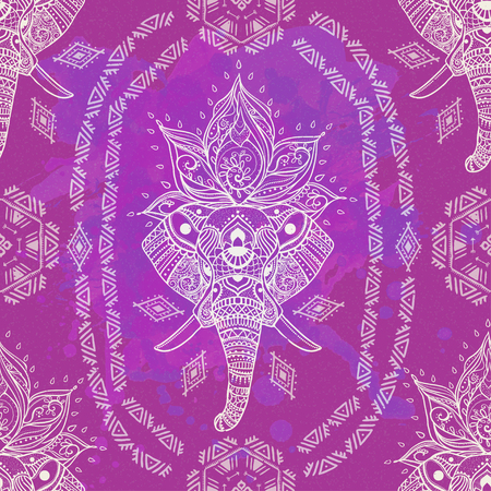 third eye: Pattern with Elephant and mandala. Frame of animal made in vector. Use for children clothes, pajamas Illustration
