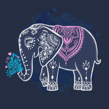 the children s: Card with Elephant. Frame of animal made in vector ornamental. Illustration for design, pattern, textiles. Use for children s clothes, pajamas and adult coloring book