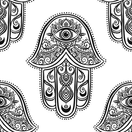talismán: Tarjeta del ornamento con hamsa. círculo elemento geométrico hecho en vector. hamsa ornamentales talismán, la protección del símbolo del ojo. Kaleidoscope, medallón, el yoga, la india, árabe