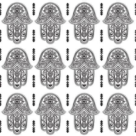 talismán: Tarjeta del ornamento con hamsa. círculo elemento geométrico hecho en vector. hamsa ornamentales talismán, la protección del símbolo del ojo. Caleidoscopio, modelo, el yoga, la india, árabe Vectores