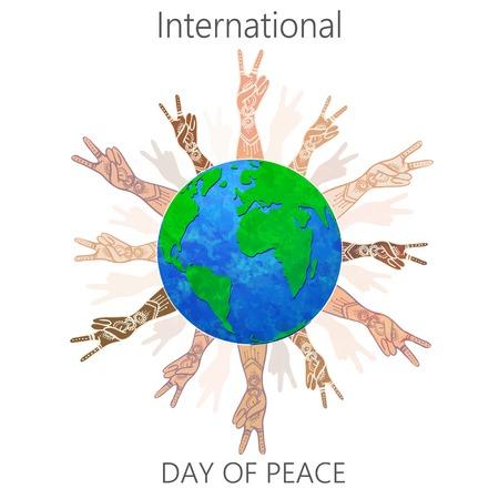 Internationale Dag van de Vrede 21 september op de wereldmarkt. Liefde Geen Oorlog. Respect voor de mensenrechten en diversiteit. Elk leven is de moeite waard. Gebruik voor banners, kaarten en reclame