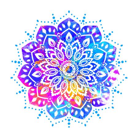 Watercolor color card with mandala. Geometric circle element vector. Art subject, Adults Coloring book. Kaleidoscope, medallion, yoga, india, arabic. Illustration for print, print notebook clothing Illusztráció