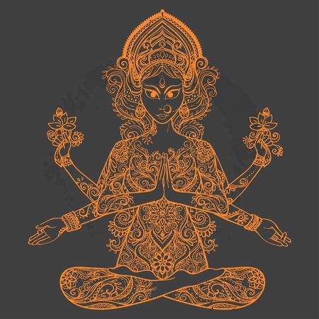 parvati: Ornament card with of Maa Durga. Illustration of Happy Navratri. Happy Maha Shivaratri
