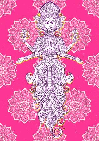 rama: Ornament card with of Maa Durga. Illustration of Happy Navratri. Happy Maha Shivaratri happy dussehra