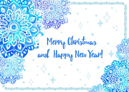 Greeting Card Happy New Year And Merry Christmas. Mandala Snowflake ...