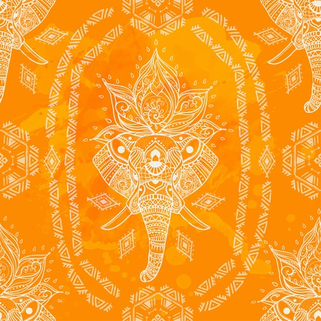 Pattern with Elephant and mandala. Frame of animal made in vector. Use for children clothes, pajamas Illustration