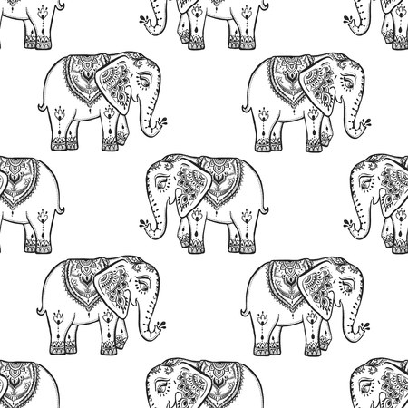the children s: Pattern with baby elephant made in vector. Color ornamental illustration for design, pattern, textiles. Use for children s clothes, pajamas and adult coloring book Illustration