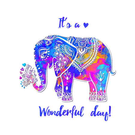 Beautiful card with elephant Frame of animal it s a wonderful day vector illustration design template for textile Hand drawn bright prints on T shirts and cups canvas of another object.