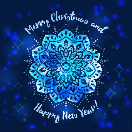 Greeting card Happy New Year and Merry Christmas. Mandala Snowflake. Arabic and Indian style. Illustration