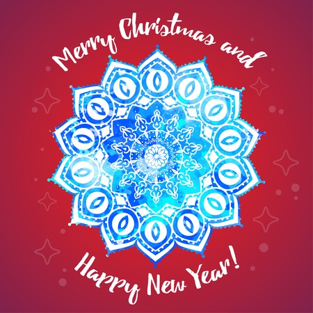 Greeting card happy new year and merry christmas mandala snowflake greeting card happy new year and merry christmas mandala snowflake arabic and indian style m4hsunfo